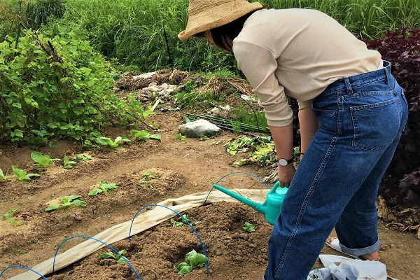 農作業をする金木さん
